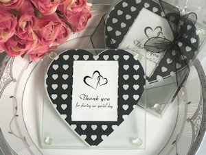 Black and White Dot Heart Photo Coasters image