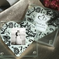 Damask Heart Photo Coaster Wedding Favors