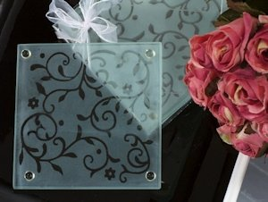 Frosted Damask Elegance Coaster Favor image
