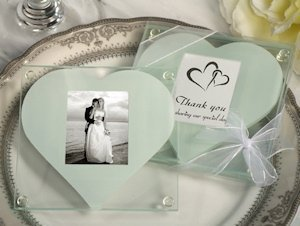 Heart Design Glass Photo Coaster Favors image