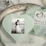 Heart Design Glass Photo Coaster Favors
