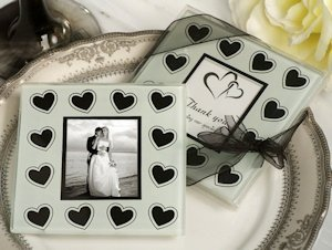 Black and White Hearts Glass Photo Coaster Favors image