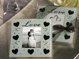 Love and Hearts Glass Photo Coaster Favors image