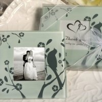 Lovebird Design Glass Photo Coaster Favors