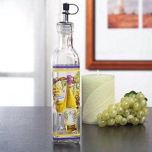 Glass Oil Bottle with White Wine Motif image