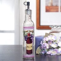 Red Wine Motif Glass Oil Bottle