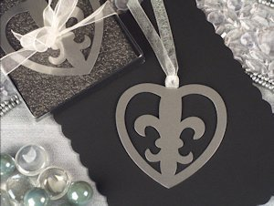 Fleur De Lis Heart Wedding Favors Bookmarks image