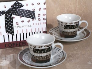 Coffee Beans Petite Espresso Cup and Saucer Set image