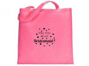 Will You Be My Bridesmaid Design Pink Tote Bag image