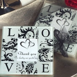 Love and Damask Photo Coaster Wedding Favors image