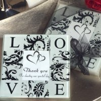 Love and Damask Photo Coaster Wedding Favors