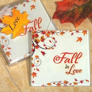 Fall in Love Glass Coasters image