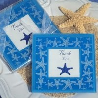 Starfish Design Glass Photo Coasters