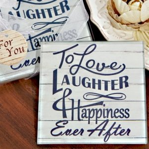Rustic Love Laughter and Happily Ever After Glass Coaster Fa image