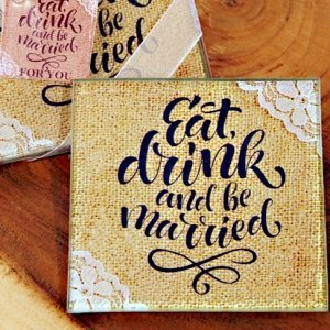 Rustic Lace Eat Drink and Be Married Glass Coaster Favors image