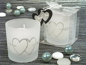 Silver Double Hearts Glitter Candle image