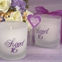 Purple Glitter Sweet Sixteen Candle Party Favors