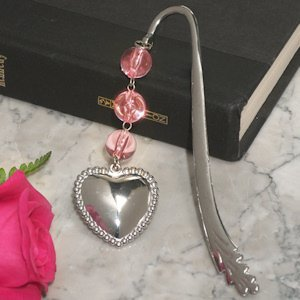 Beaded Chrome Solid Heart Bookmark image
