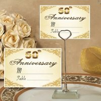 50th Anniversary Place Card with Metal Holder