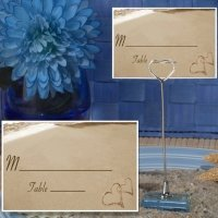 Two Hearts Beach Place Card with Metal Holder