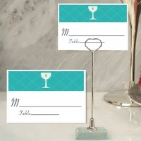 Blue Communion Place Card with Metal Place Card Holder