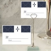 Blue Cross Design Place Card with Metal Holder