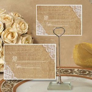 Burlap and Lace Design Place Card with Holder image