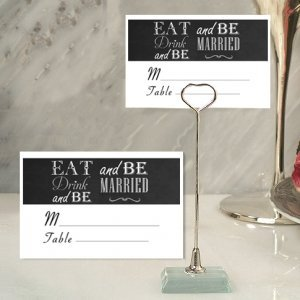 Eat Drink and Be Married Place Card with Metal Holder image