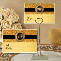 Gold Sparkle VIP Place Card with Metal Holder