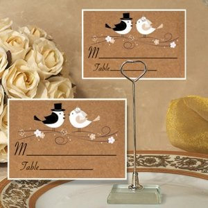 Love Birds Place Card with Metal Place Card Holder image
