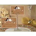 Love Birds Place Card with Metal Place Card Holder