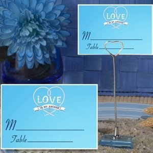 Love Is My Anchor Blue Place Card with Metal Holder image