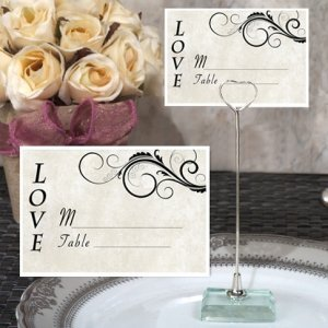 Stylish Love Place Card with Metal Place Card Holder image