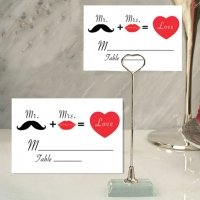 Whimsical Mr and Mrs Place Card with Metal Holder