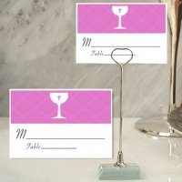 Pink Communion Place Card with Metal Place Card Holder