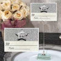 Silver Sparkle VIP Place Card with Metal Holder