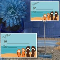 Soul Mates Beach Design Place Card with Metal Holder
