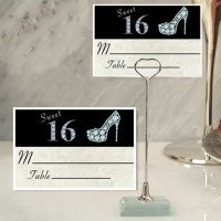 Stylish Sweet 16 Place Card with Metal Holder