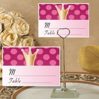 Pink Crown Design Place Card with Metal Holder