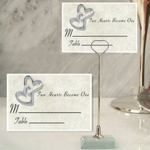 Two Hearts Become One Place Card with Metal Holder image