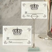 Royal Crown Design Place Card with Metal Holders