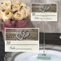 Rustic Two Hearts Design Place Card with Metal Holder