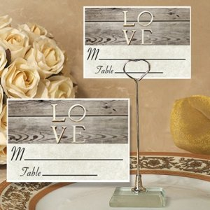 Rustic Love Design Place Card with Metal Holder image