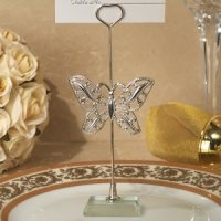Silver Butterfly Place Card Holder