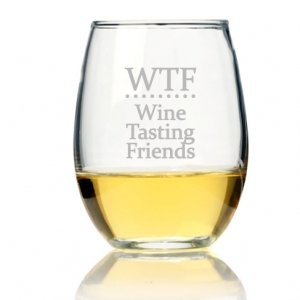 WTF Wine Tasting Friends Stemless Wine Glass (Set of 4) image