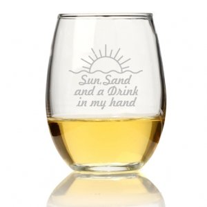 Sun Sand And A Drink In My Hand Stemless Wine Glass (Set of image