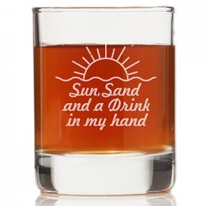 Sun Sand And A Drink In My Hand Rock Glasses (Set of 4) image