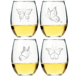 Butterflies Stemless Wine Glass (Set of 4) image