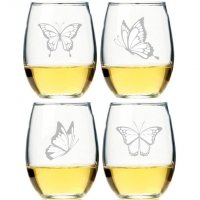 Butterflies Stemless Wine Glass (Set of 4)