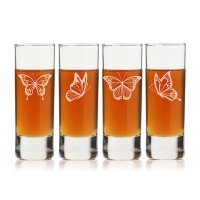 Butterflies Tall Shot Glass (Set of 4)